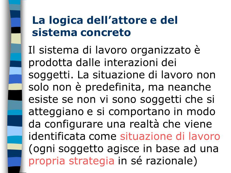 La logica dell'attore e del sistema concreto Il sistema di lavoro organizzato è prodotta dalle interazioni dei soggetti.