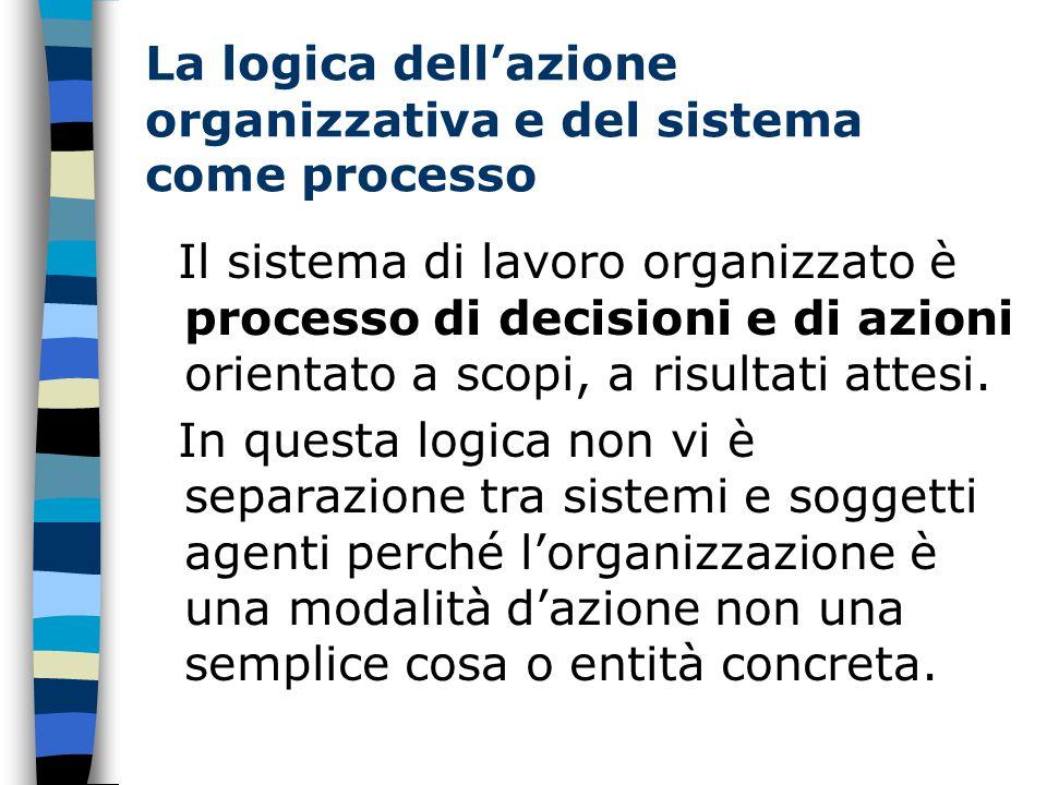 La logica dell'azione organizzativa e del sistema come processo Il sistema di lavoro organizzato è processo di decisioni e di azioni orientato a scopi, a risultati attesi.