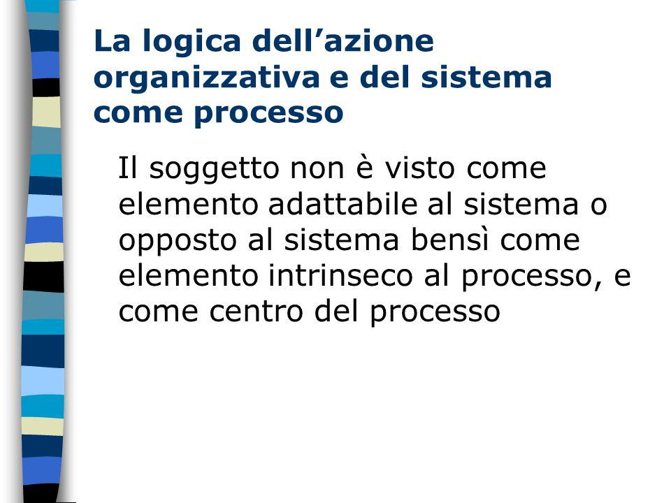 La logica dell'azione organizzativa e del sistema come processo Il soggetto non è visto come elemento adattabile al sistema o opposto al sistema bensì come elemento intrinseco al processo, e come centro del processo