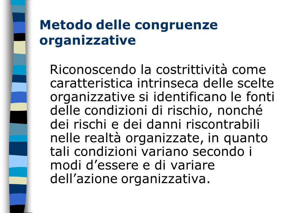 Metodo delle congruenze organizzative Riconoscendo la costrittività come caratteristica intrinseca delle scelte organizzative si identificano le fonti delle condizioni di rischio, nonché dei rischi e dei danni riscontrabili nelle realtà organizzate, in quanto tali condizioni variano secondo i modi d'essere e di variare dell'azione organizzativa.