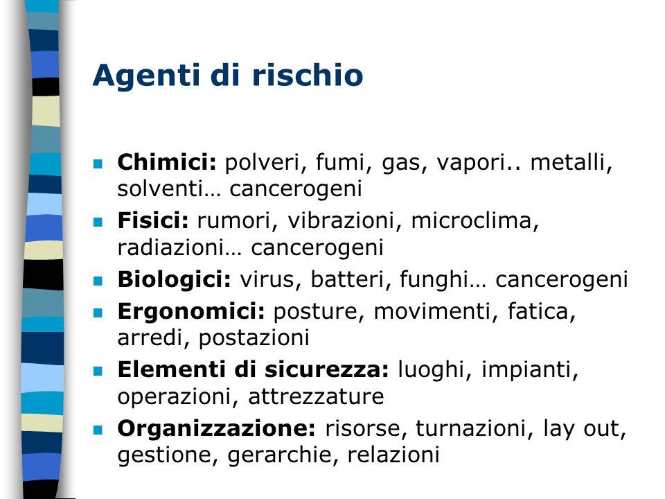 Agenti di rischio n Chimici: polveri, fumi, gas, vapori..