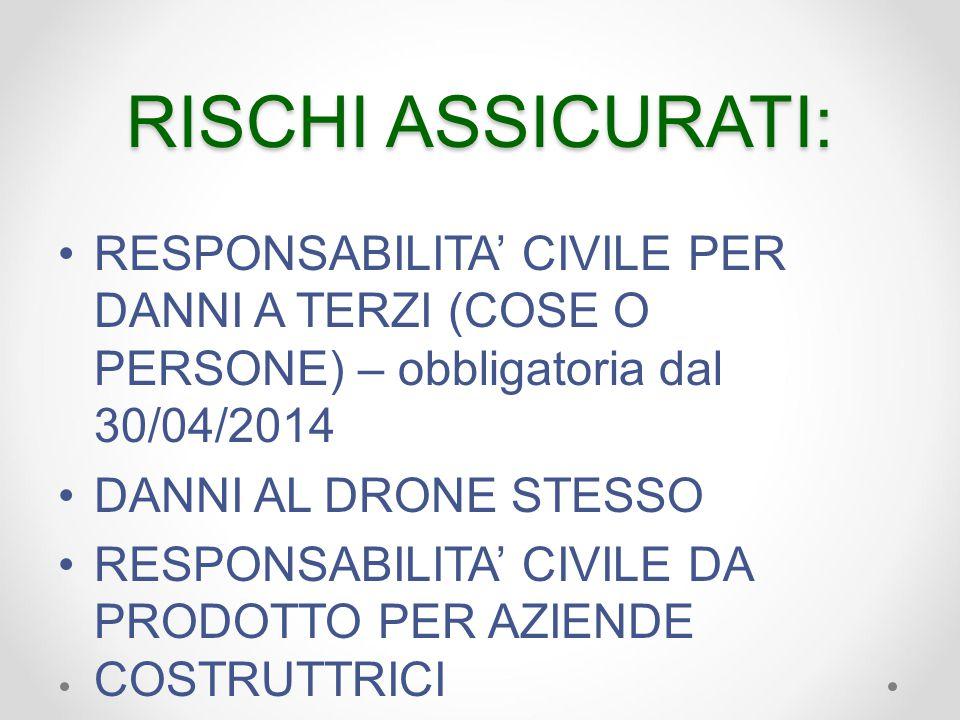 RISCHI ASSICURATI: RESPONSABILITA' CIVILE PER DANNI A TERZI (COSE O PERSONE) – obbligatoria dal 30/04/2014 DANNI AL DRONE STESSO RESPONSABILITA' CIVILE DA PRODOTTO PER AZIENDE COSTRUTTRICI
