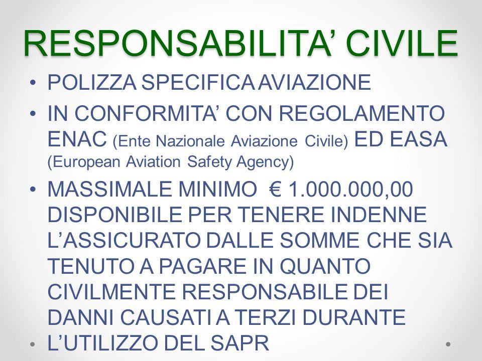 RESPONSABILITA' CIVILE POLIZZA SPECIFICA AVIAZIONE IN CONFORMITA' CON REGOLAMENTO ENAC (Ente Nazionale Aviazione Civile) ED EASA (European Aviation Safety Agency) MASSIMALE MINIMO € 1.000.000,00 DISPONIBILE PER TENERE INDENNE L'ASSICURATO DALLE SOMME CHE SIA TENUTO A PAGARE IN QUANTO CIVILMENTE RESPONSABILE DEI DANNI CAUSATI A TERZI DURANTE L'UTILIZZO DEL SAPR