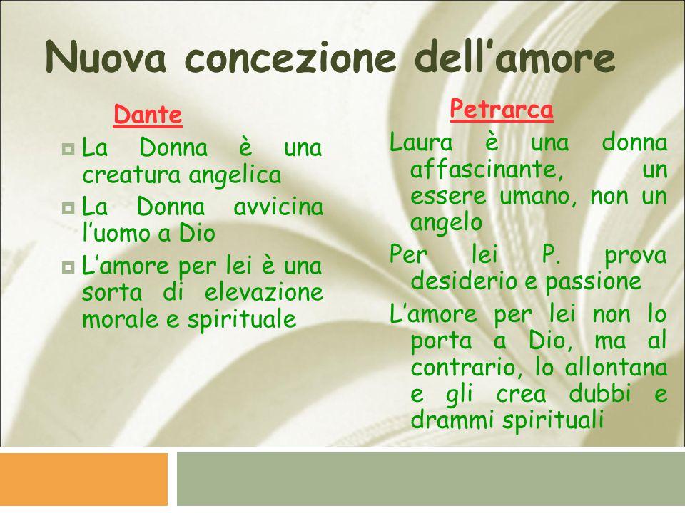 Nuova concezione dell'amore Dante  La Donna è una creatura angelica  La Donna avvicina l'uomo a Dio  L'amore per lei è una sorta di elevazione mora