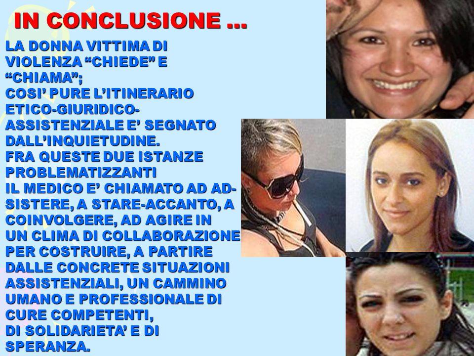 IN CONCLUSIONE … LA DONNA VITTIMA DI VIOLENZA CHIEDE E CHIAMA ; COSI' PURE L'ITINERARIO ETICO-GIURIDICO- ASSISTENZIALE E' SEGNATO DALL'INQUIETUDINE.
