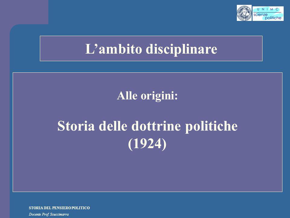 STORIA DEL PENSIERO POLITICO Docente Prof.Scuccimarra A.