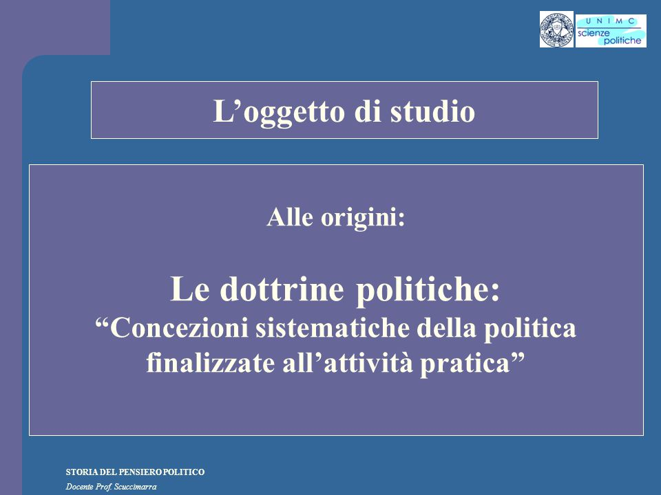 STORIA DEL PENSIERO POLITICO Docente Prof.Scuccimarra STORIA COSTITUZIONALE I.