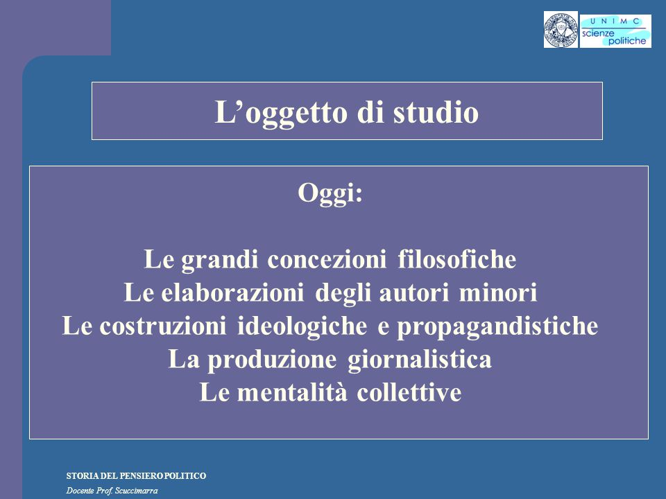 i STORIA DEL PENSIERO POLITICO Docente Prof. Scuccimarra Lezione n. 6 I SEMESTRE A.A. 2010-2011