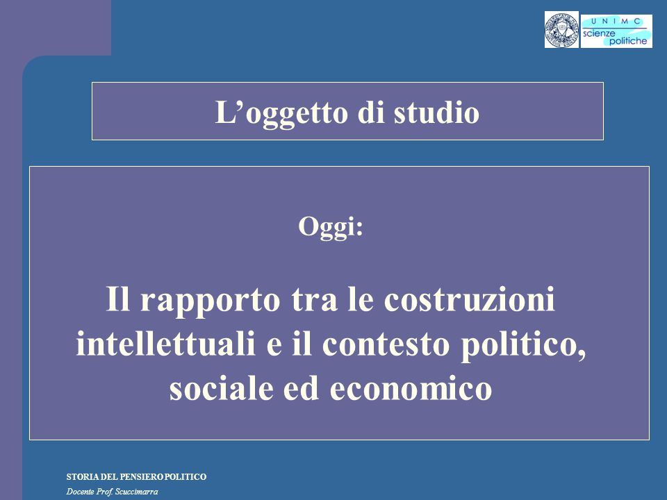 STORIA DEL PENSIERO POLITICO Docente Prof.Scuccimarra J.-J.
