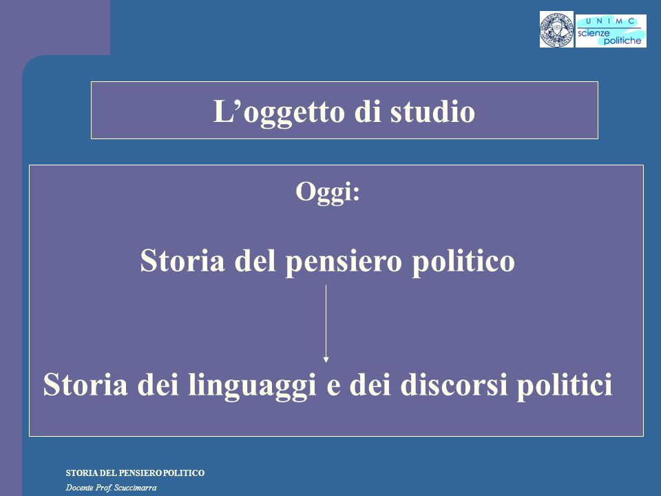 i STORIA DEL PENSIERO POLITICO Docente Prof. Scuccimarra Lezione n. 20 I SEMESTRE A.A. 2009-2010