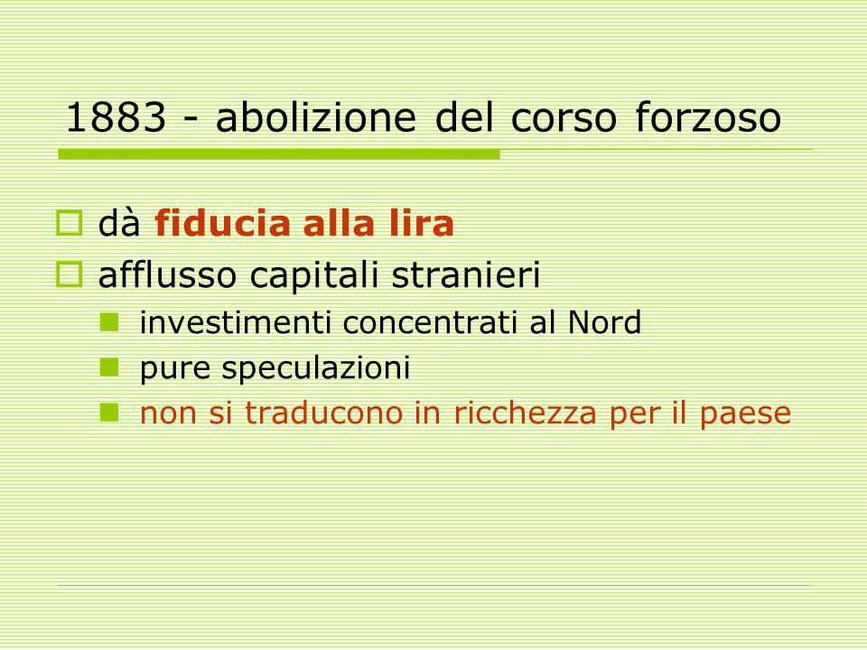 1883 - abolizione del corso forzoso  dà fiducia alla lira  afflusso capitali stranieri investimenti concentrati al Nord pure speculazioni non si traducono in ricchezza per il paese