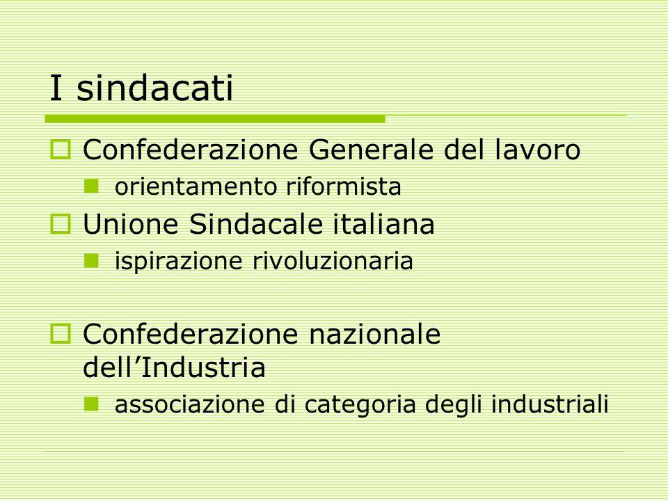 I sindacati  Confederazione Generale del lavoro orientamento riformista  Unione Sindacale italiana ispirazione rivoluzionaria  Confederazione nazionale dell'Industria associazione di categoria degli industriali