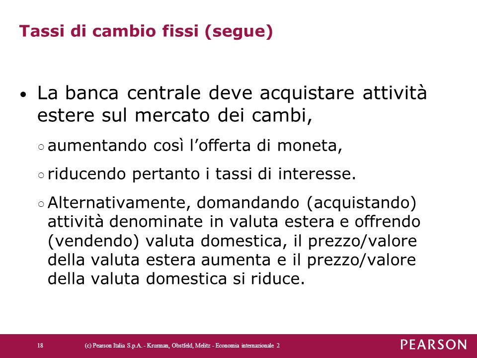Tassi di cambio fissi (segue) La banca centrale deve acquistare attività estere sul mercato dei cambi, ○ aumentando così l'offerta di moneta, ○ riduce