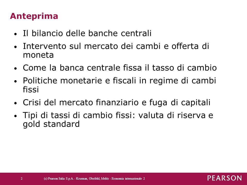 Anteprima Il bilancio delle banche centrali Intervento sul mercato dei cambi e offerta di moneta Come la banca centrale fissa il tasso di cambio Polit