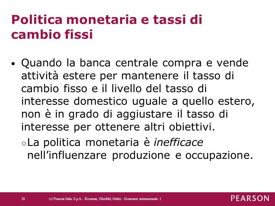 Politica monetaria e tassi di cambio fissi Quando la banca centrale compra e vende attività estere per mantenere il tasso di cambio fisso e il livello