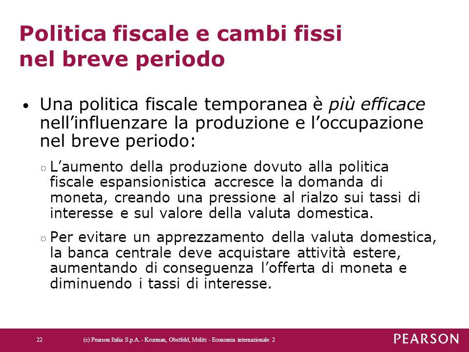 Politica fiscale e cambi fissi nel breve periodo Una politica fiscale temporanea è più efficace nell'influenzare la produzione e l'occupazione nel bre