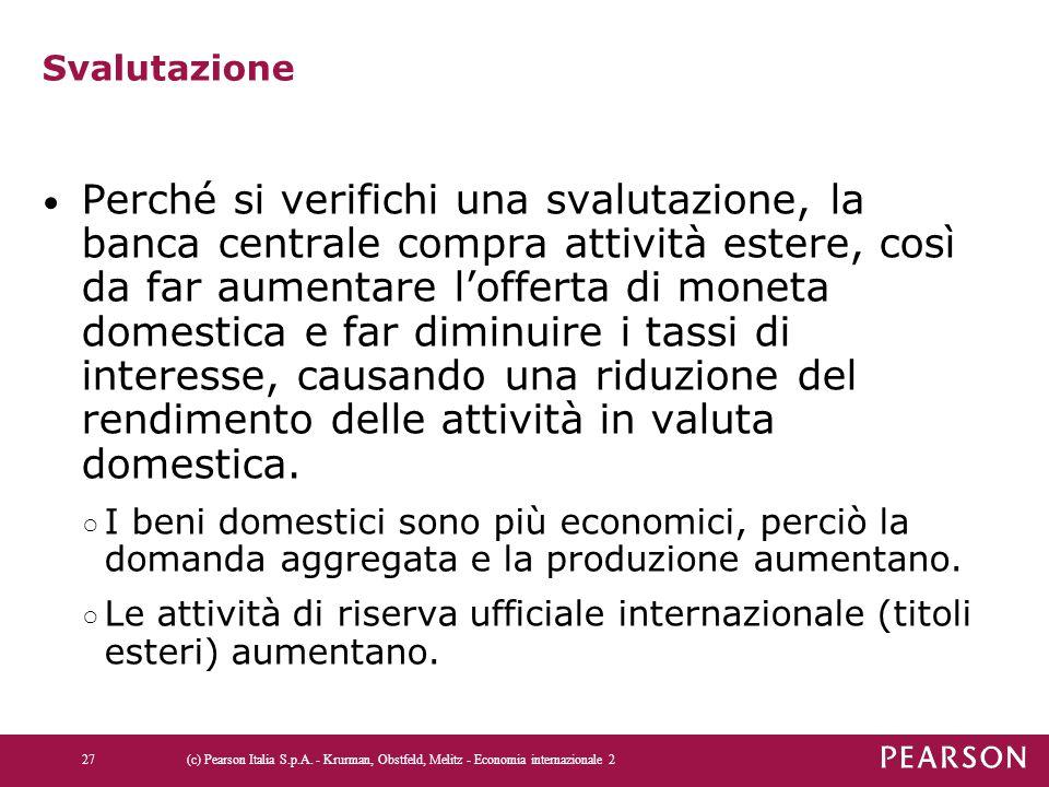 Svalutazione Perché si verifichi una svalutazione, la banca centrale compra attività estere, così da far aumentare l'offerta di moneta domestica e far