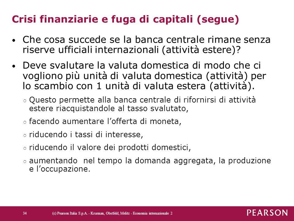 Crisi finanziarie e fuga di capitali (segue) Che cosa succede se la banca centrale rimane senza riserve ufficiali internazionali (attività estere)? De