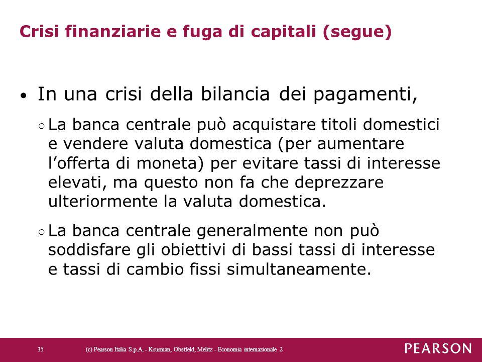Crisi finanziarie e fuga di capitali (segue) In una crisi della bilancia dei pagamenti, ○ La banca centrale può acquistare titoli domestici e vendere