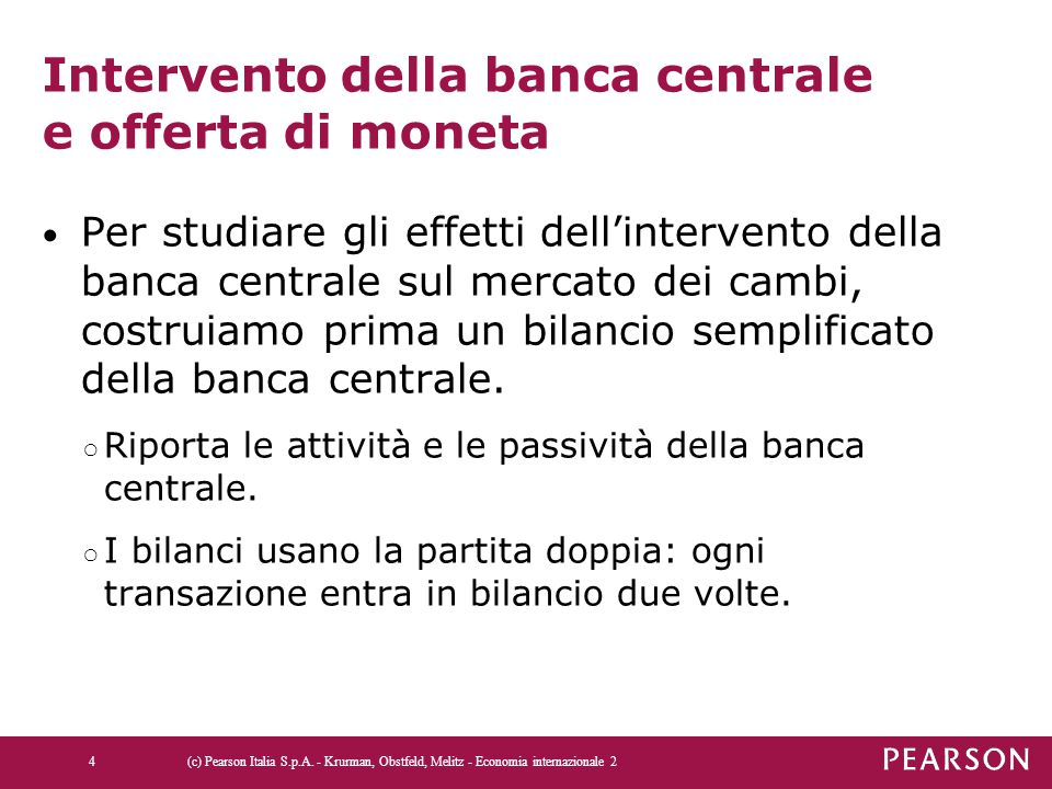 Intervento della banca centrale e offerta di moneta Per studiare gli effetti dell'intervento della banca centrale sul mercato dei cambi, costruiamo pr