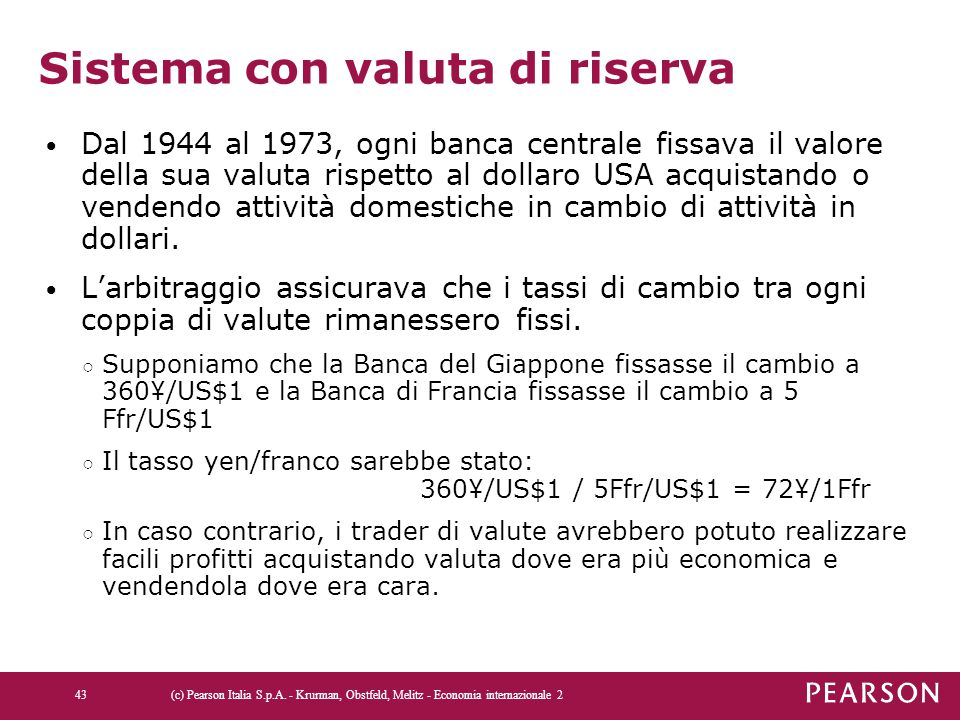 Sistema con valuta di riserva Dal 1944 al 1973, ogni banca centrale fissava il valore della sua valuta rispetto al dollaro USA acquistando o vendendo