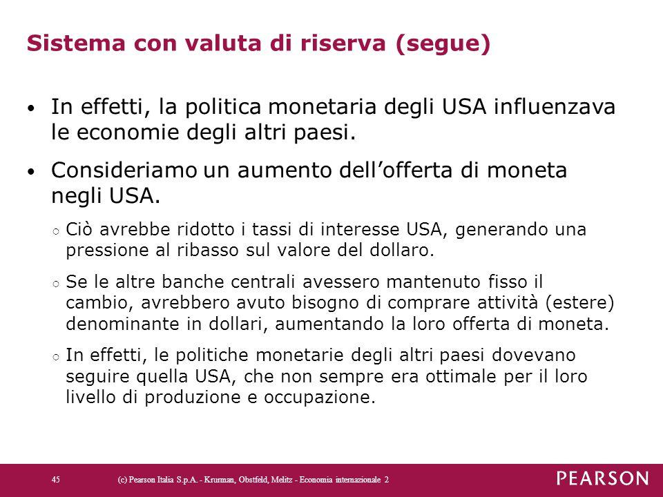 Sistema con valuta di riserva (segue) In effetti, la politica monetaria degli USA influenzava le economie degli altri paesi. Consideriamo un aumento d