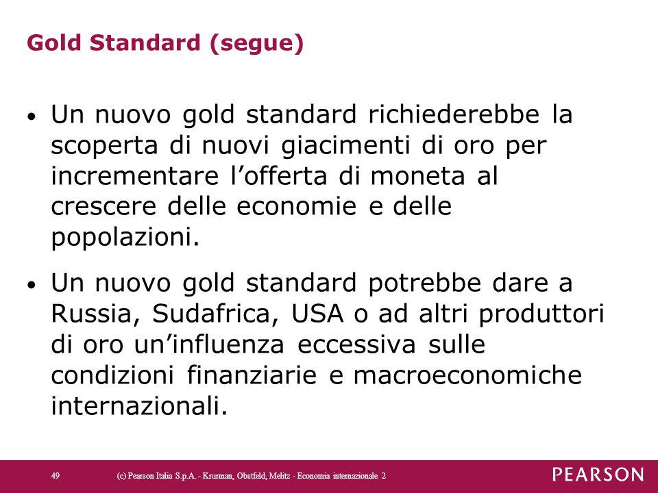 Gold Standard (segue) Un nuovo gold standard richiederebbe la scoperta di nuovi giacimenti di oro per incrementare l'offerta di moneta al crescere del