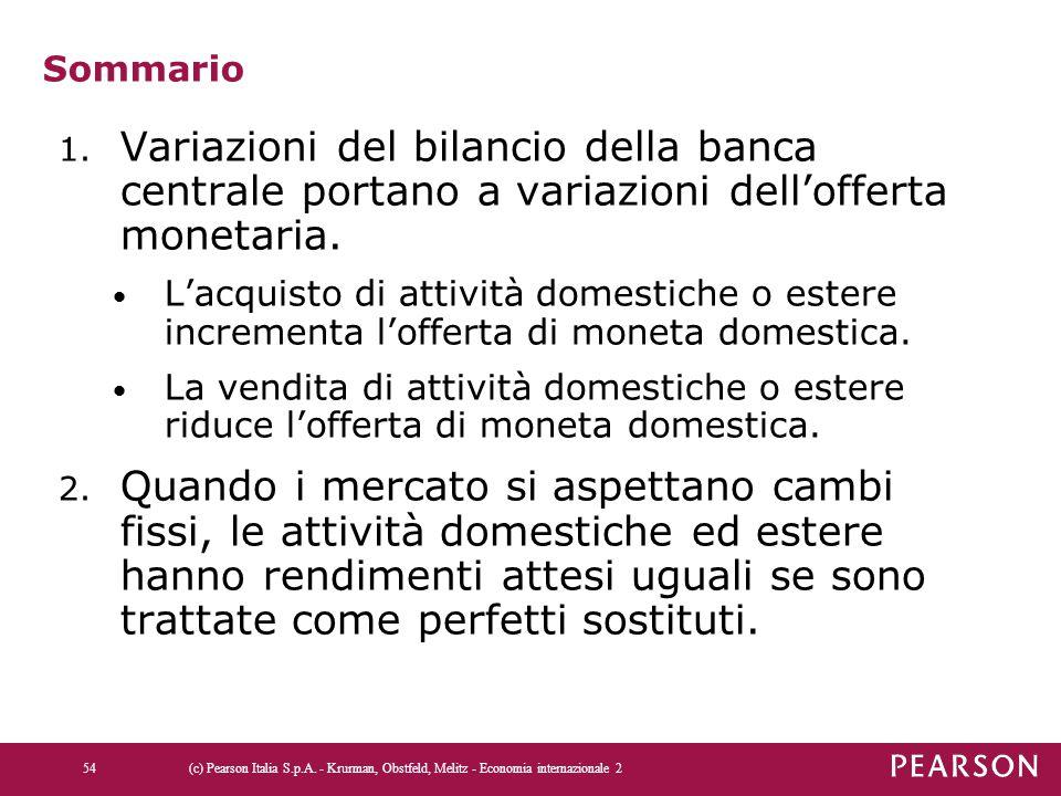 Sommario 1. Variazioni del bilancio della banca centrale portano a variazioni dell'offerta monetaria. L'acquisto di attività domestiche o estere incre