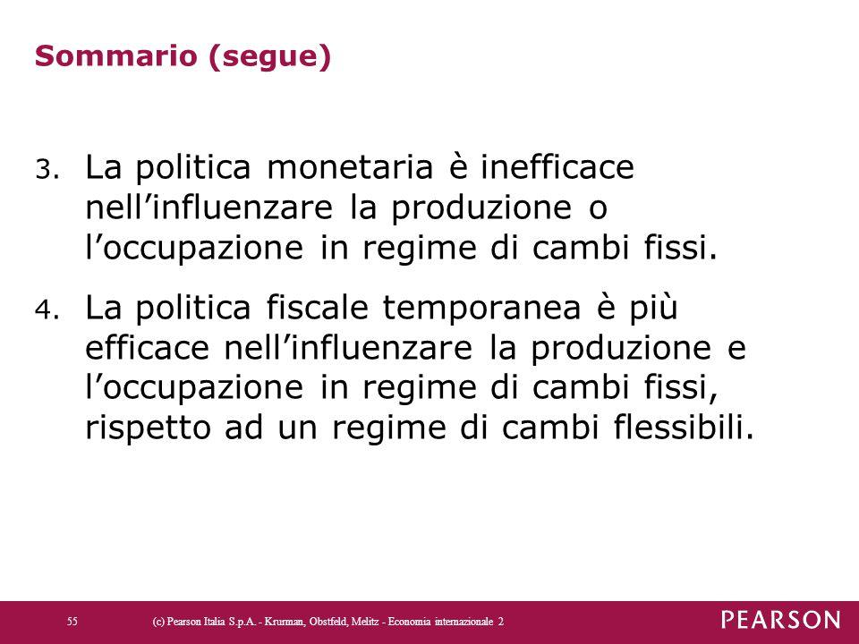 Sommario (segue) 3. La politica monetaria è inefficace nell'influenzare la produzione o l'occupazione in regime di cambi fissi. 4. La politica fiscale