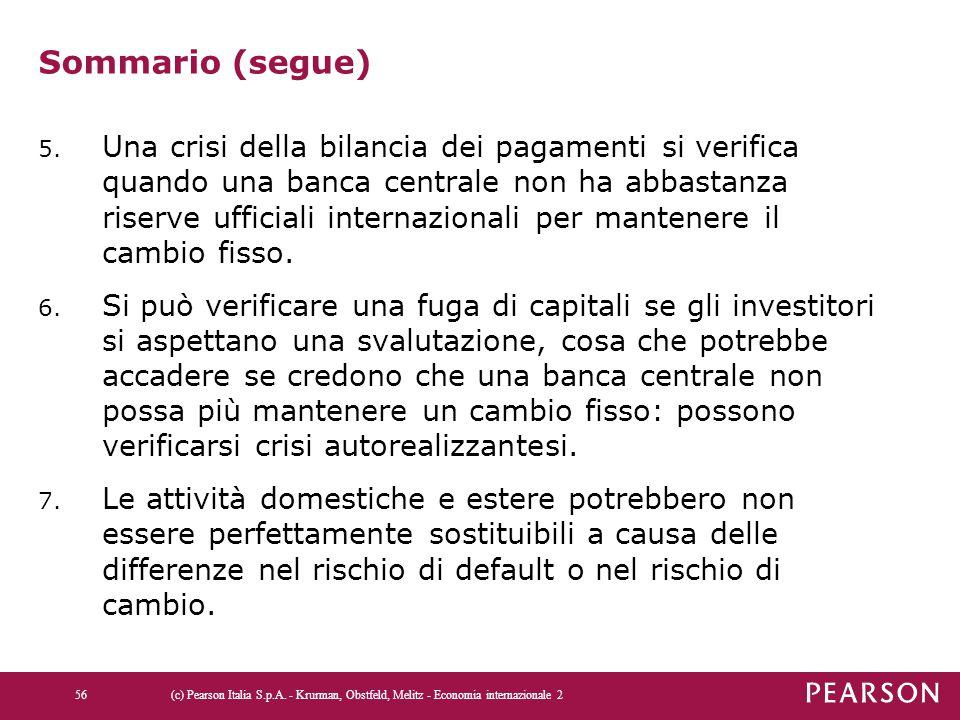 Sommario (segue) 5. Una crisi della bilancia dei pagamenti si verifica quando una banca centrale non ha abbastanza riserve ufficiali internazionali pe