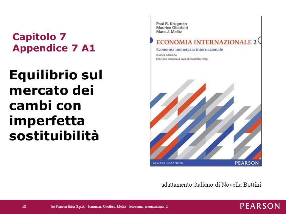 58 Capitolo 7 Appendice 7 A1 Equilibrio sul mercato dei cambi con imperfetta sostituibilità adattamento italiano di Novella Bottini
