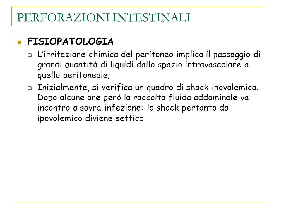 PERFORAZIONI INTESTINALI FISIOPATOLOGIA  L'irritazione chimica del peritoneo implica il passaggio di grandi quantità di liquidi dallo spazio intravas