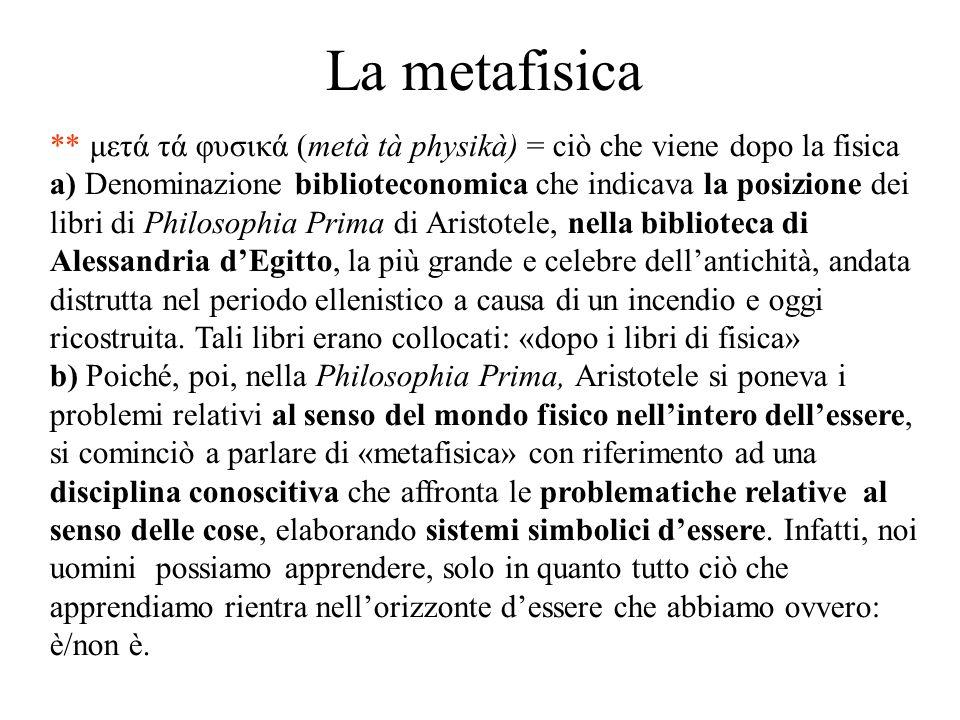La metafisica ** μετά τά φυσικά (metà tà physikà) = ciò che viene dopo la fisica a) Denominazione biblioteconomica che indicava la posizione dei libri
