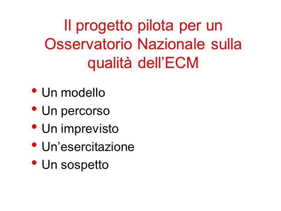 Il progetto pilota per un Osservatorio Nazionale sulla qualità dell'ECM Un modello Un percorso Un imprevisto Un'esercitazione Un sospetto