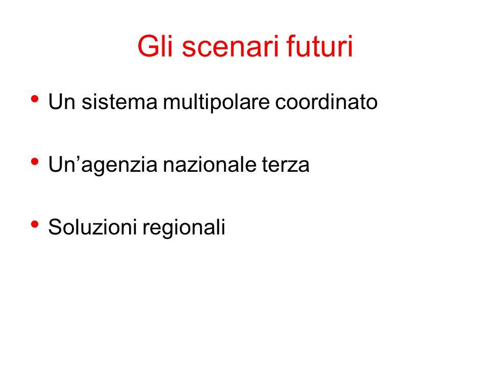 Gli scenari futuri Un sistema multipolare coordinato Un'agenzia nazionale terza Soluzioni regionali