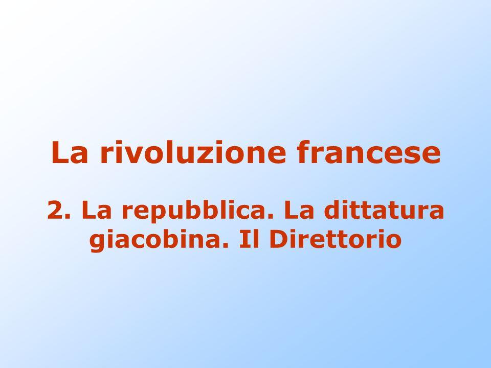 La rivoluzione francese 2. La repubblica. La dittatura giacobina. Il Direttorio