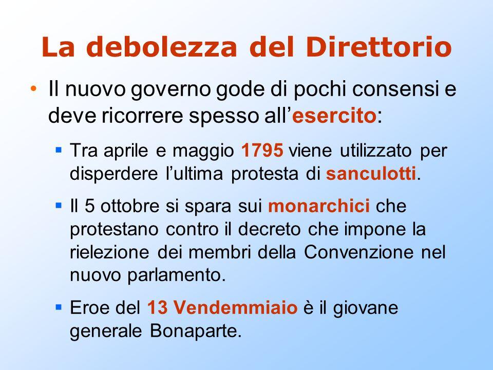La debolezza del Direttorio Il nuovo governo gode di pochi consensi e deve ricorrere spesso all'esercito:  Tra aprile e maggio 1795 viene utilizzato per disperdere l'ultima protesta di sanculotti.