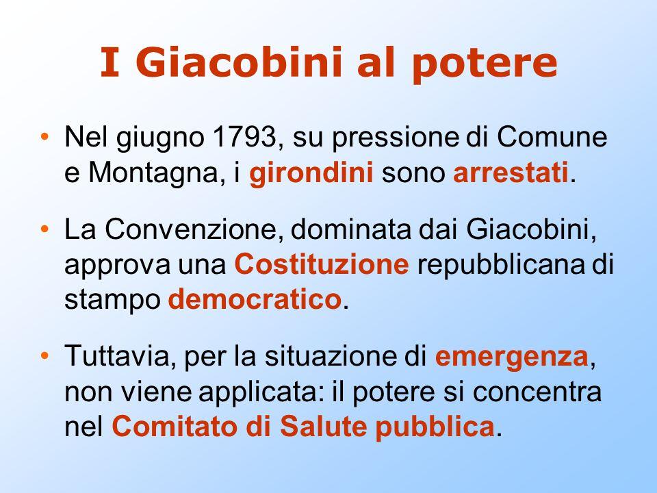 I Giacobini al potere Nel giugno 1793, su pressione di Comune e Montagna, i girondini sono arrestati. La Convenzione, dominata dai Giacobini, approva