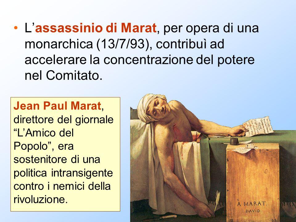 L'assassinio di Marat, per opera di una monarchica (13/7/93), contribuì ad accelerare la concentrazione del potere nel Comitato. Jean Paul Marat, dire
