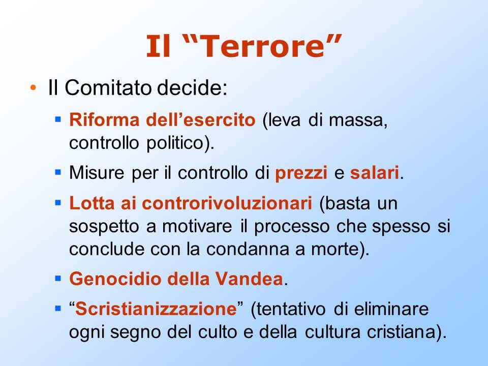 """Il """"Terrore"""" Il Comitato decide:  Riforma dell'esercito (leva di massa, controllo politico).  Misure per il controllo di prezzi e salari.  Lotta ai"""