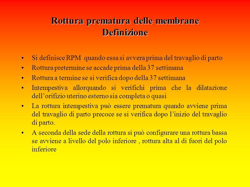 Rottura prematura delle membrane Definizione Si definisce RPM quando essa si avvera prima del travaglio di parto Rottura pretermine se accade prima de