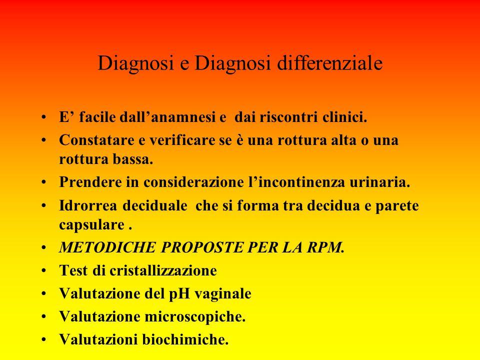 Diagnosi e Diagnosi differenziale E' facile dall'anamnesi e dai riscontri clinici. Constatare e verificare se è una rottura alta o una rottura bassa.