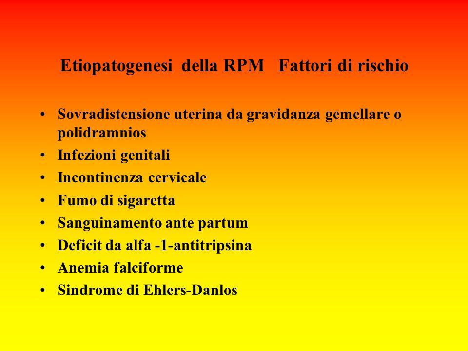 Etiopatogenesi della RPM Fattori di rischio Sovradistensione uterina da gravidanza gemellare o polidramnios Infezioni genitali Incontinenza cervicale