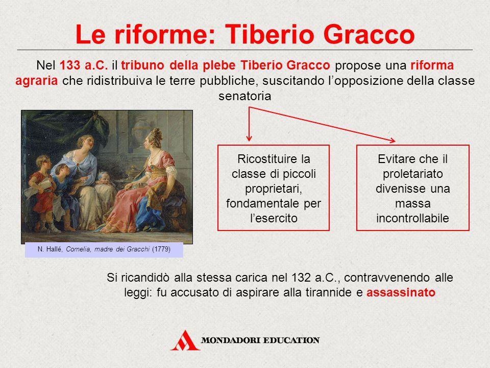 Le riforme: Tiberio Gracco Nel 133 a.C. il tribuno della plebe Tiberio Gracco propose una riforma agraria che ridistribuiva le terre pubbliche, suscit