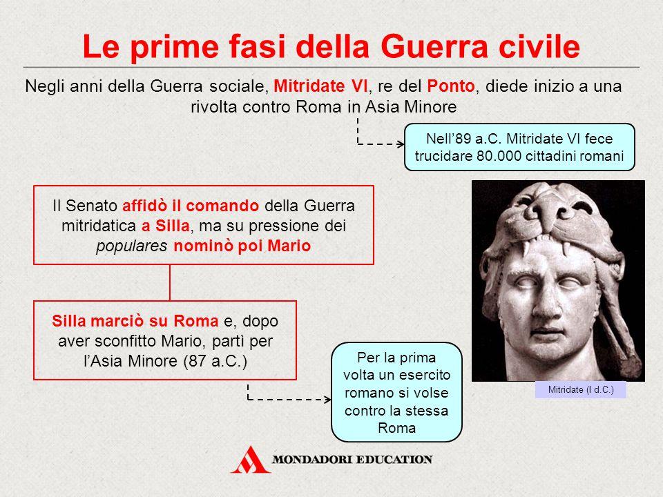 Le prime fasi della Guerra civile Negli anni della Guerra sociale, Mitridate VI, re del Ponto, diede inizio a una rivolta contro Roma in Asia Minore S