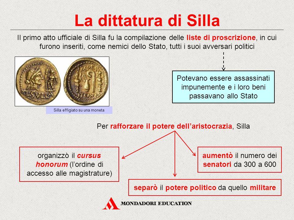 La dittatura di Silla Il primo atto ufficiale di Silla fu la compilazione delle liste di proscrizione, in cui furono inseriti, come nemici dello Stato