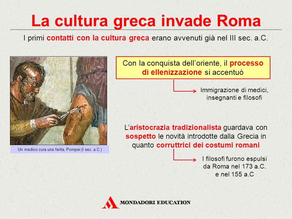 La cultura greca invade Roma I primi contatti con la cultura greca erano avvenuti già nel III sec. a.C. L'aristocrazia tradizionalista guardava con so