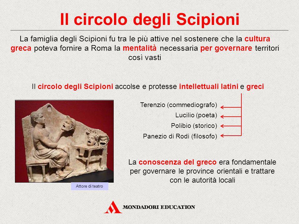 Il circolo degli Scipioni Il circolo degli Scipioni accolse e protesse intellettuali latini e greci La conoscenza del greco era fondamentale per gover