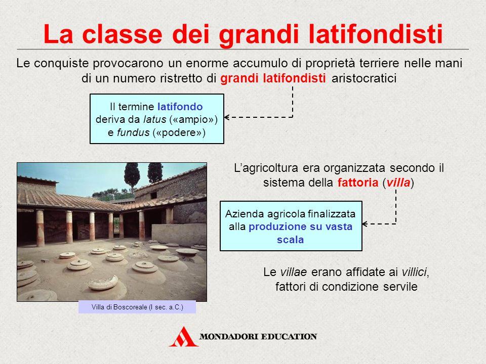 La classe dei grandi latifondisti Le conquiste provocarono un enorme accumulo di proprietà terriere nelle mani di un numero ristretto di grandi latifo