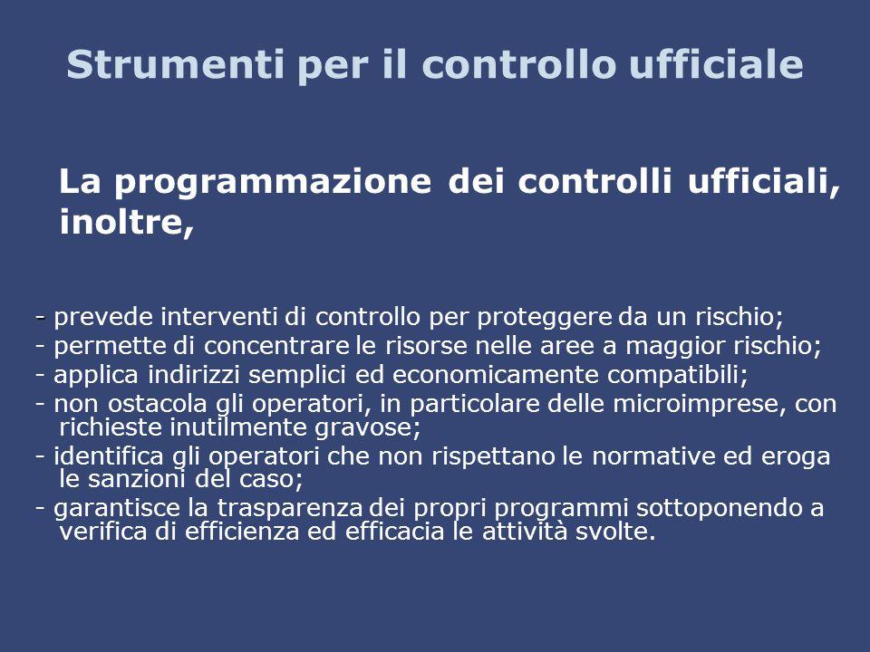 Strumenti per il controllo ufficiale La programmazione dei controlli ufficiali, inoltre, - - prevede interventi di controllo per proteggere da un risc